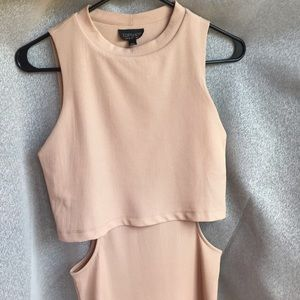 Topshop nude ribbed dress with cutout, size 2